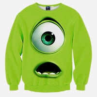 Monsters Inc All Over Print Mike Wazowski Green Crew Neck Sweatshirt