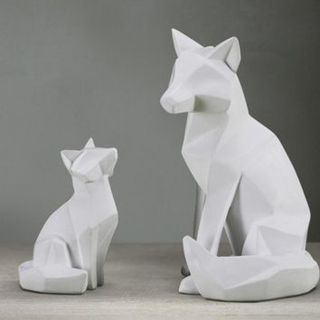 Geometric Fox Sculptures