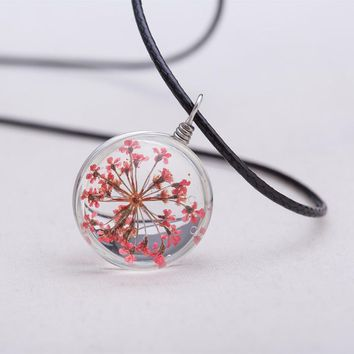 2016 Jewelry Fashion Crystal Glass Ball Narcissus Lace Necklace Long Strip Leather Chain Pendant Necklaces Women Gift