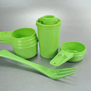 Vintage Tupperware Lime Apple Green Set of 6 Cooking Baking Items Measure Cups Spice Shaker Planting Fork