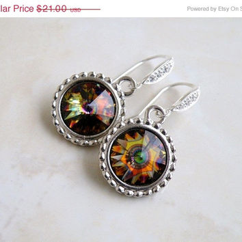 35% Off Gold Peacock Swarovski Earrings Yellow Topaz Rivoli Sterling Silver