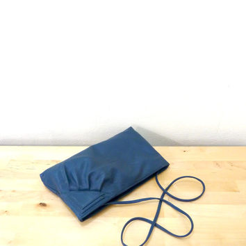 Vintage Blue Leather Purse / Cross Body Bag / Small Blue Purse / Slouchy Leather Bag / Blue Clutch Purse