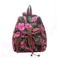 Women's Flower Pattern Buckle Flap Backpack