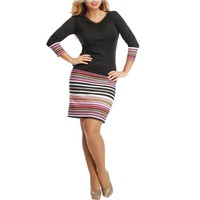 Business Casual Black with Stripe Print V-Neck Long Sleeve Dress.