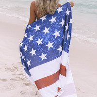 American Flag Round Terry Cloth Beach Blanket