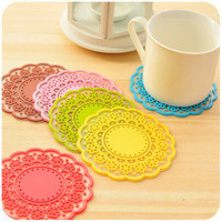 Lace transparent silicon coaster (2 in a set)