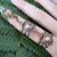 armor ring triple ring  claw nail tip ring  knuckle ring   moon goddess ring