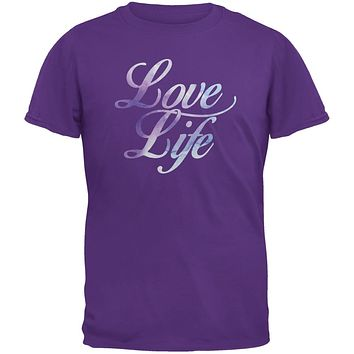 Love Life Watercolor Purple Adult T-Shirt