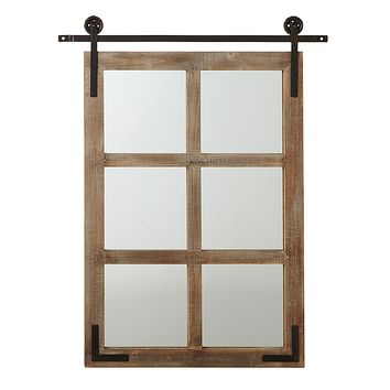 Farmhouse Window Mirror on Faux Pulley Door -- 38-in