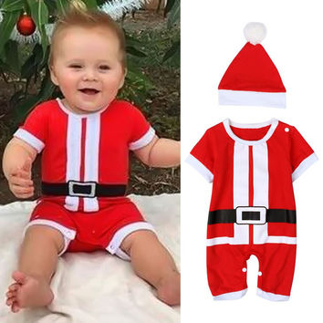 New Christmas Baby Clothes Set Baby Rompers Toddler Infant Boys Short Sleeve Jumpsuit +Hat Santa Costume