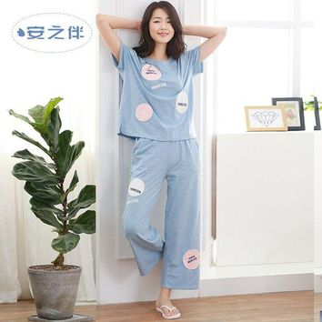 DCCKU62 Anzhiban 2017 Summer Women Pajamas Sets Short-Sleeved Sleepwear Suit Cotton Pants Casual Female Home Nightgown Fashion Pyjamas
