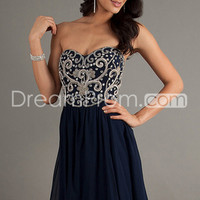 US $169.99 Free Shipping 2014 Homecoming Dresses A Line Short/Mini Cowl Neck Dark Nave Blue Chiffon
