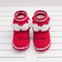 Baby crochet boots baby slippers baby booties children  red white christmas baby gift