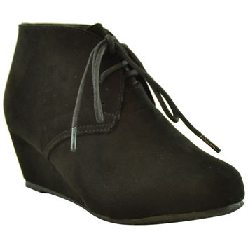 Kids Lace Up Suede Wedge Ankle Boots Black
