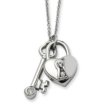 Stainless Steel Heart Lock and Key Adjustable Necklace with CZ - 17in
