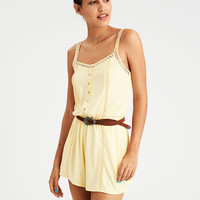 AE LACE INSET BUTTON FRONT ROMPER, Yellow
