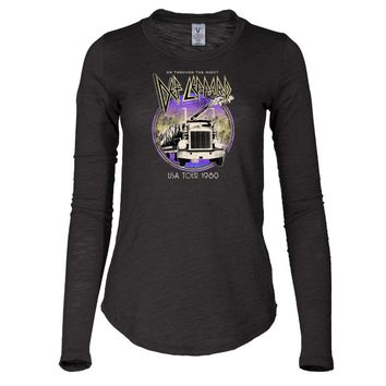 Vinyl Icons Def Leppard 1980 USA Tour VIDL-023D Women's Long Sleeve Slub Tee Shirt