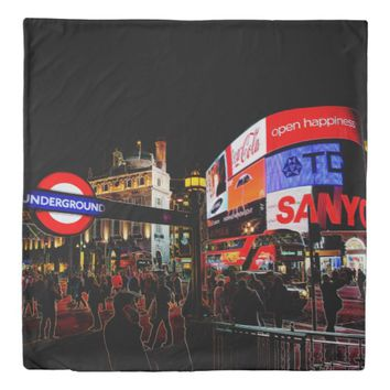 Fantasy Glowing Piccadilly In London At Night Duvet Cover