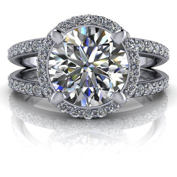 Free Center Stone! Round Moissanite Engagement Ring - Diamond Halo Ring Setting
