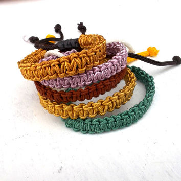 braided bracelet, macrame bracelet, pink green brown yellow five bracelets braided jewelry knotted bracelet, unisex bracelet, bracelet