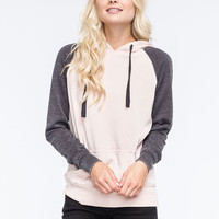 Full Tilt Essential Colorblock Womens Pullover Hoodie Pink  In Sizes