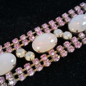 On Sale Vintage Pink Rhinestone Multi Row Holiday Bracelet, 1950's 1960's Old Hollywood Glamour Style Chunky Wide High End Rare Jewelry
