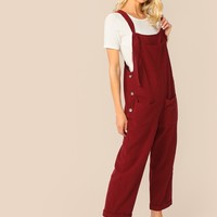 Buttoned Side Pocket Patch Overalls