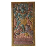 Mogul Vintage Carved Lord Shiv Tandav Barn Door Wall Hanging Living Room Panel Yoga Décor - Walmart.com