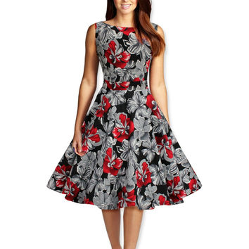 2015 Hepburn style vintage O-neck sleeveless print ball gown dress women prom cocktail casual retro 50s dress