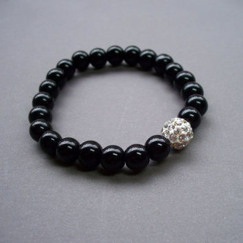 Sparkly black Agate stretch bracelet with bling crystal ball bead perfect for Stacking
