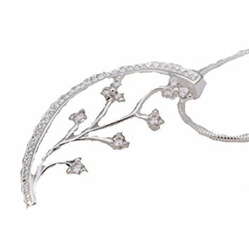 Basket Hill Watches and Gifts Silver Plated, Cubic Zirconia Half Moon and Leaf Necklace