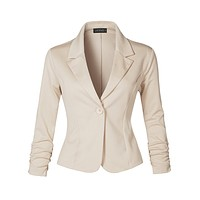 Slim Fit Ruched Long Sleeve Single Button Down Work Office Blazer Jacket