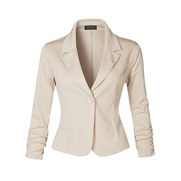 LE3NO Womens Slim Fit Ruched Long Sleeve Single Button Down Work Office Blazer Jacket