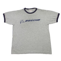 Vintage 90s Boeing Ringer Tee Made in USA Mens Size Large
