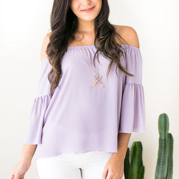 There For You Lilac Off Shoulder Top