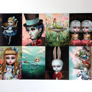 Alice in Wonderland Postcard Collection - Limited Edition set of Alice Postcards by Mab Graves