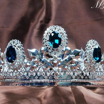 "Men Blue Crystal Crown Full Round Tiara 3.5"" Imperial Medieval Austrian Rhinestone Headpiece Prom Pageant Bridal Party Costumes"