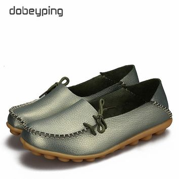 New Women Real Leather Shoes Moccasins Mother Loafers Soft Leisure Flats Female Drivin