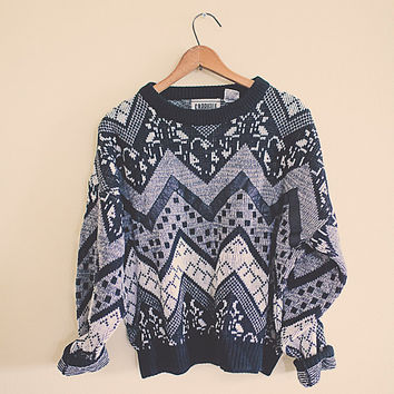 Vintage 80's 90's Sweater Tribal Cosby COOGI Black Aztec Large Leather Cropped Cozy Oversize Boyfriend Hipster Sweater