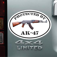 Protected By AK47 Oval Vinyl Decal Bumper Sticker -  Car Truck SUV Pro NRA Assualt Rifle Ar15 Second Amendment  Ammo Gun Jeep Chevy