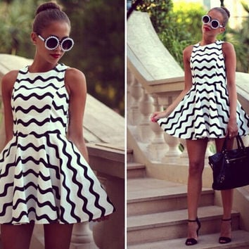 Wave Printed Sleeveless A-Line Flounce Mini Dress