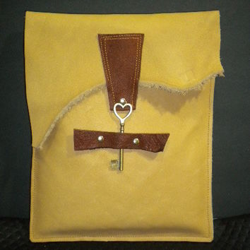 Genuine Raw Leather Ipad Case in Butterscotch by maycascollection