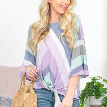 Sweet Darcy Striped  Knot Top