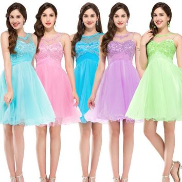 Bridesmaid Dresses Knee Length Short Tulle Lace Pink Blue Lilac Green Pale Turquoise Bridesmaid Dress Ball Gown