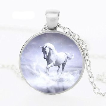 Handmade Vintage Horse and Unicorn Picture Glass Pendant Necklaces