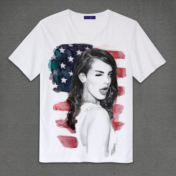 Lana Del Rey born to die with the U.S. flag white T Shirt S M L XL