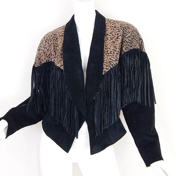Size M 80s Suede Fringe Jacket - Vintage Women's Cheetah Print Black Batwing Sleeve Big Shoulder Jacket
