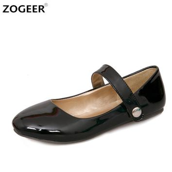 Big size 48 New Fashion Ankle Strap Women Flats Patent Leather Candy Color Pointed To