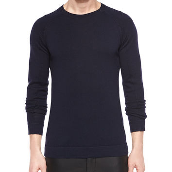 Basic Wool Crewneck Sweater, Navy, Size: