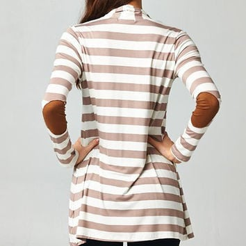 Taupe Striped Cardigan w/ Elbow Patch *MADE IN USA*